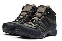 92a7ca39bb0a Кроссовки мужские зимние Adidas Terrex Gore Tex (Гор Текс) на меху хаки с  черным