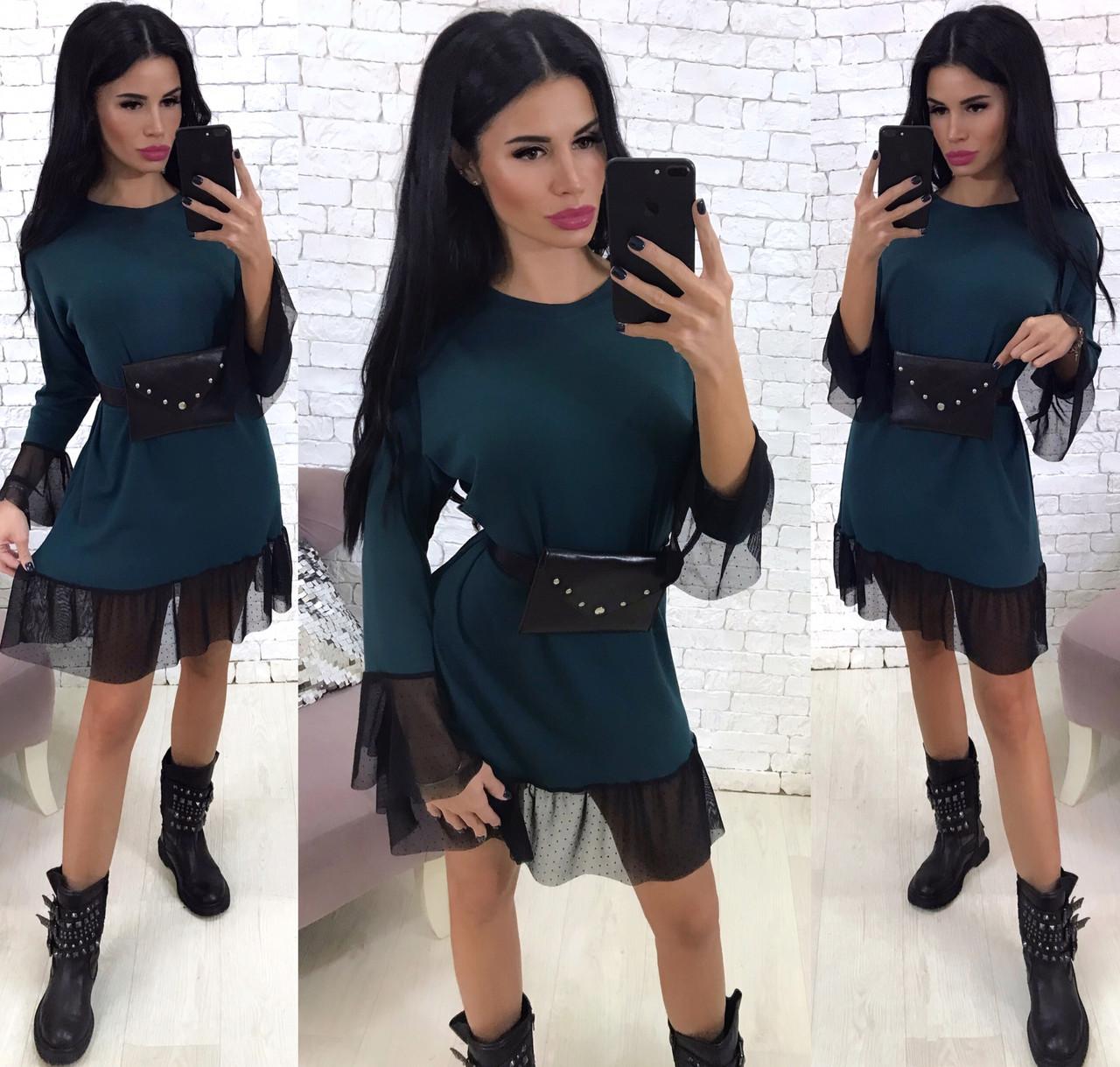 Стильное свободное платье с сеткой