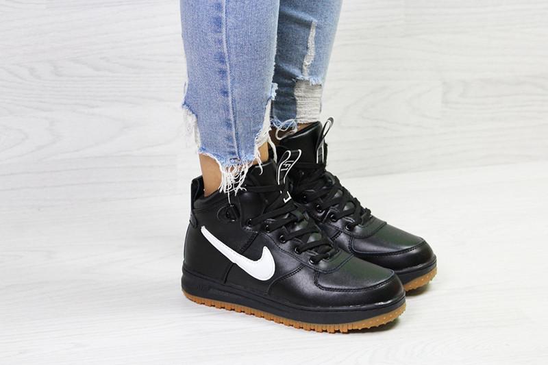 e6f59b41 Кроссовки женские найк аир форс 1 зимние черно-белые с мехом (реплика) Nike  Air Force LF1 Black White Leather ...