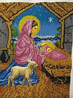 """Икона вышита бисером """"Рождество Христово"""", ручная работа, 34х26 см, 850"""
