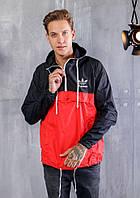 Анорак мужской adidas черный с красным из легкой тонкой плащевки