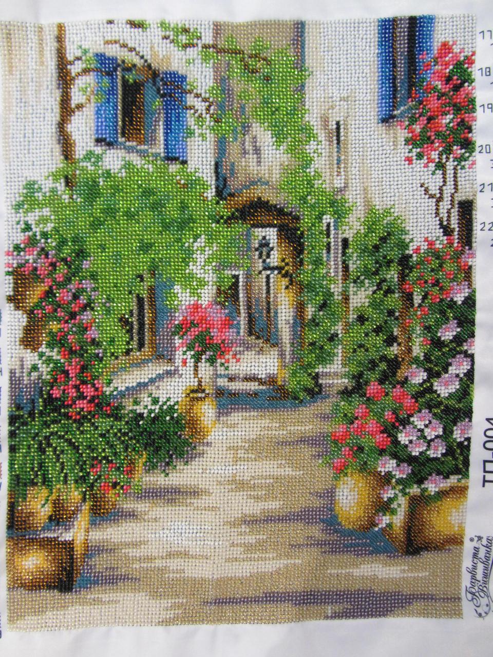 """Картина вышита бисером """"Уютный дворик"""", ручная работа, 34х26 см, 850"""