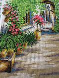 """Картина вышита бисером """"Уютный дворик"""", ручная работа, 34х26 см, 850, фото 3"""