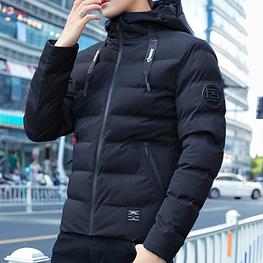 Теплый мужской пуховик с капюшоном. Модель 618