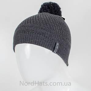 Двойная молодежная шапка с помпоном, оптом, (Темно-серый)