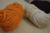 Ґушка пряжі для вязания из натуральной овечьей шерсти ,цвет-оранжевый