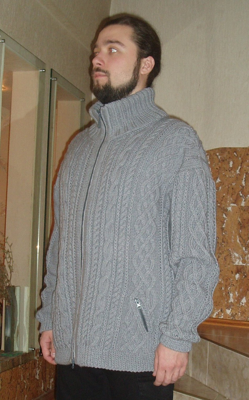 7b92a54ef3cad Вязаный мужской свитер на молнии с карманами - Интернет-магазин