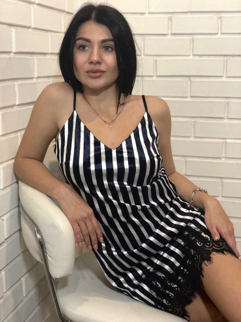 Велюровое платье пеньюар в полоску на 46-48