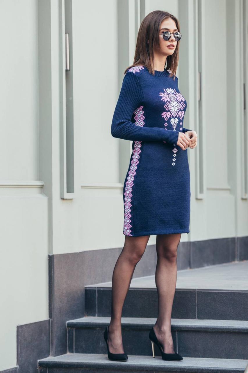 Платье вязаное вышиванка  с орнаментом шерстяное теплое размер 42-48