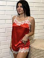 Красная майка с белым кружевом в комплекте шорты, фото 1