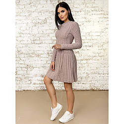 Теплое стильное вязанное шерстяное платье в плиссировку Крис, 44-46