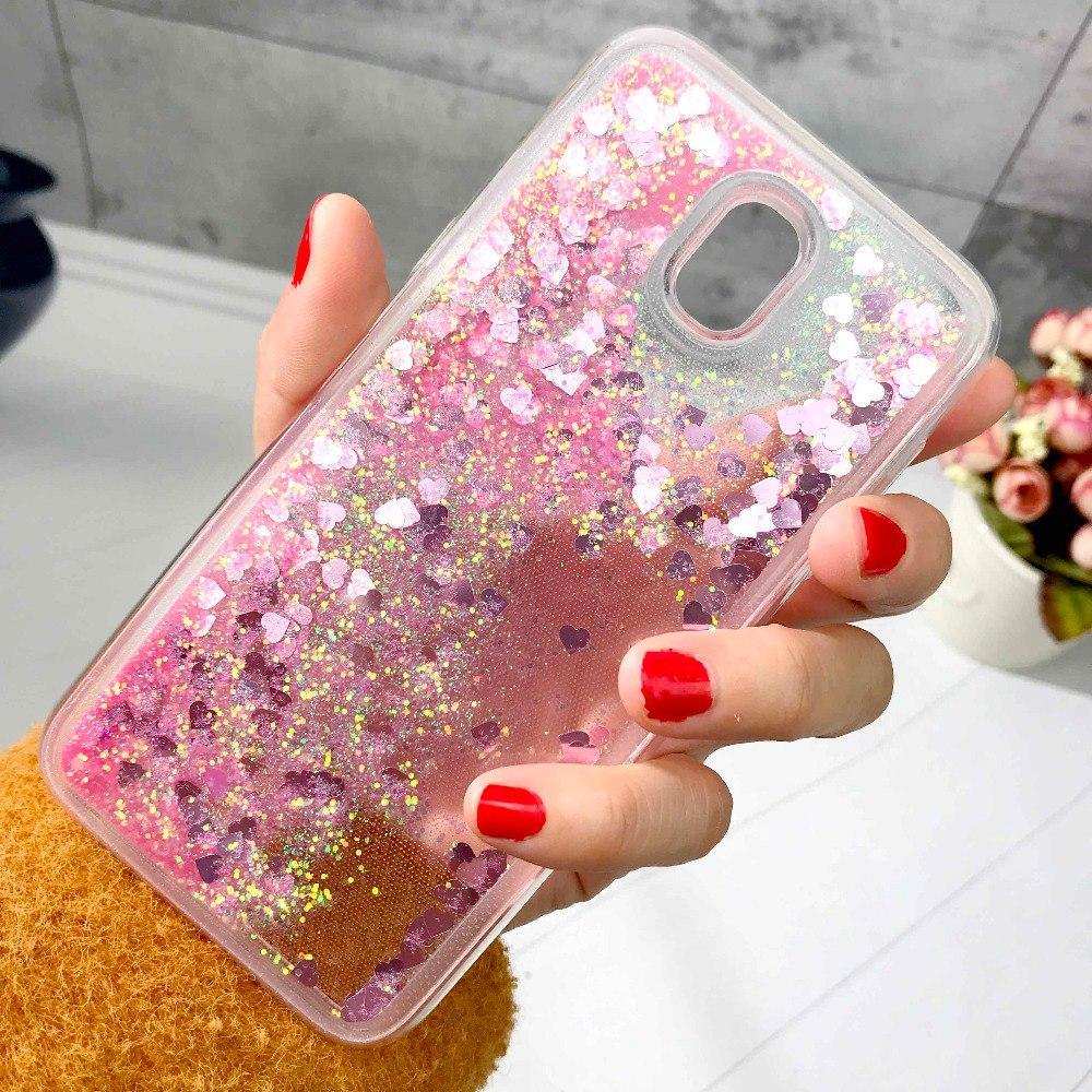 Чехол Glitter для Samsung Galaxy J7 2017 / J730 Бампер Жидкий блеск сердце розовый