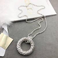 Длинная цепочка жгут с крупным кулоном в виде круга цвет серебро