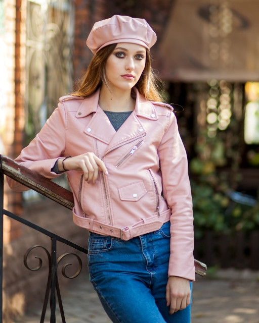 Берет кожа розовый