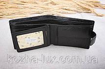 Портмоне мужское кожаное чёрное классическое, натуральная кожа, фото 2