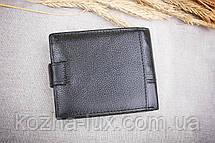 Портмоне мужское кожаное чёрное классическое, натуральная кожа, фото 3