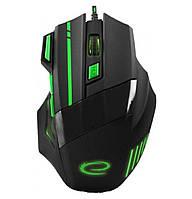 Игровая компьютерная мышь USB Esperanza MX201 WOLF (EGM201G) Черный / Зеленый
