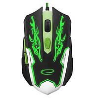 Игровая компьютерная мышь USB Esperanza MX405 CYBORG (EGM405) Черный / Зеленый