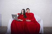 Плед с рукавами для двоих Красный (микрофибра)