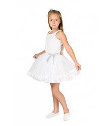 Белая фатиновая юбка-пачка для девочек от 5 до 7 лет (33 см), детская юбочка из фатина с подкладкой