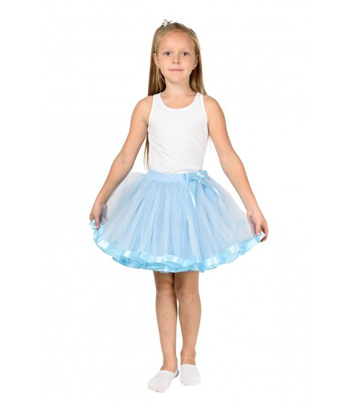 Голубая фатиновая юбка-пачка для девочек от 5 до 7 лет (33 см), детская юбочка из фатина с подкладкой