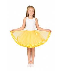 Жёлтая фатиновая юбка-пачка для девочек от 5 до 7 лет (33 см), детская юбочка из фатина с подкладкой