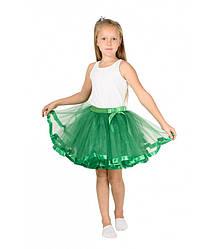 Зеленая фатиновая юбка-пачка для девочек от 5 до 7 лет (33 см), детская юбочка из фатина с подкладкой