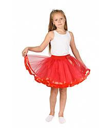 Красная фатиновая юбка-пачка для девочек от 5 до 7 лет (33 см), детская юбочка из фатина с подкладкой