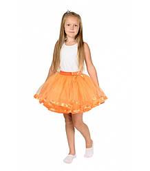 Оранжевая фатиновая юбка-пачка для девочек от 5 до 7 лет (33 см), детская юбочка из фатина с подкладкой