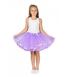Сиреневая фатиновая юбка-пачка для девочек от 5 до 7 лет (33 см), детская юбочка из фатина с подкладкой