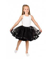 Черная фатиновая юбка-пачка для девочек от 5 до 7 лет (33 см), детская юбочка из фатина с подкладкой