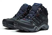 Мужские зимние ботинки на меху в стиле Adidas Terrex Gore Tex, темно-синие. Код товара KW - 30513