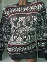 Свитер с совами/ снежинками женский (шерсть/ акрил), фото 1