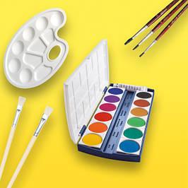 Краски, кисточки, палитры, стаканы-непроливайки