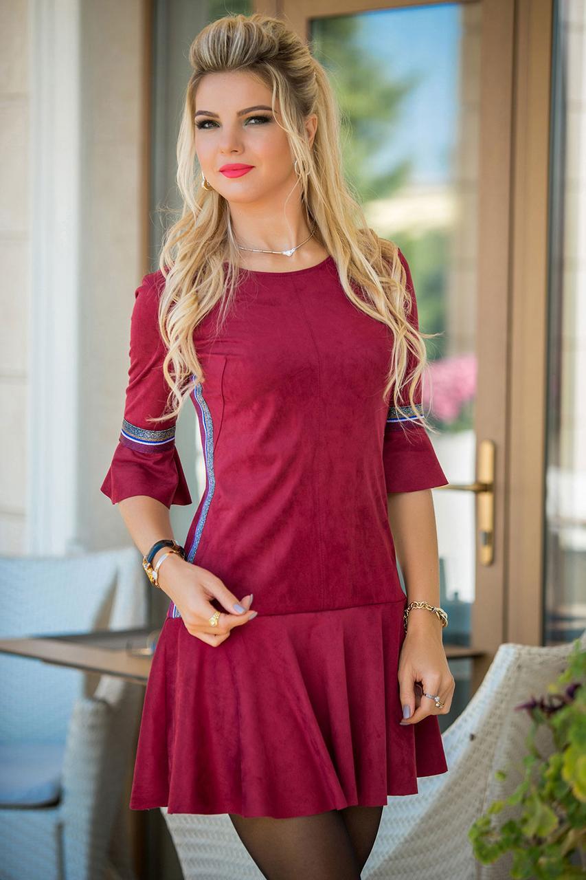 Замшевое Платье с лампасом