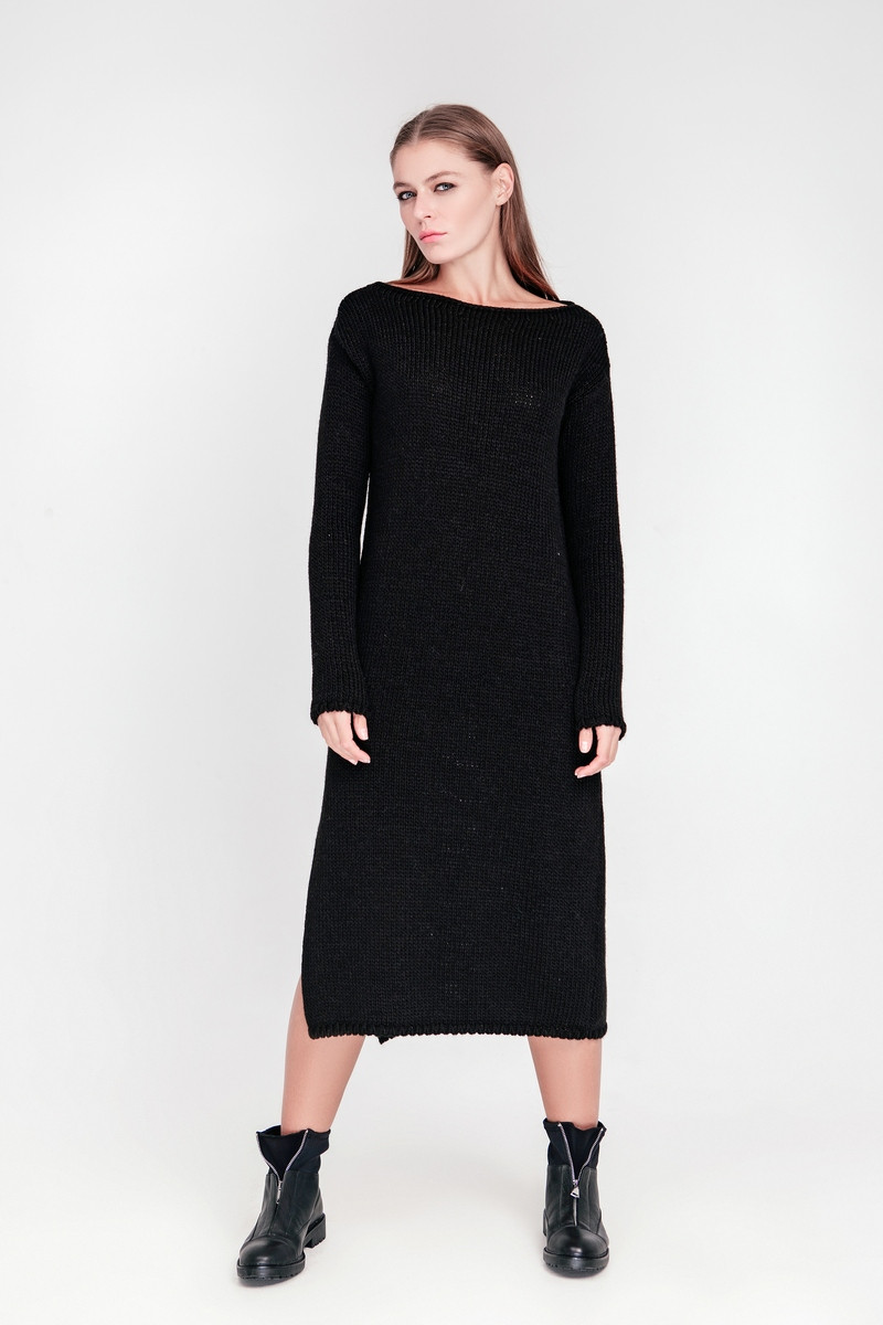 SEWEL Платье PW404 (42-44, черный, 60% акрил/ 30% шерсть/ 10% эластан)