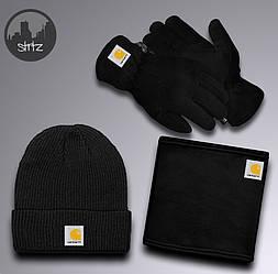 Мужской комплект шапка + бафф + перчатки Carhartt черного цвета (люкс копия)