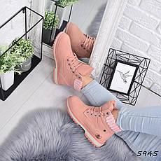 """Ботинки, ботильоны пудровые ЗИМА """"Combers"""" эко замша, повседневная, зимняя, теплая, женская обувь, фото 3"""