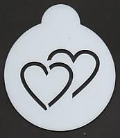 "Кофе - трафарет ""Два сердца"""