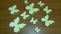 Комплект бабочек из пенопласта. Цвет: лимонный