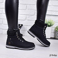 """Ботинки, ботильоны черные ЗИМА """"Combers"""" эко замша, повседневная, зимняя, теплая, женская обувь, фото 2"""