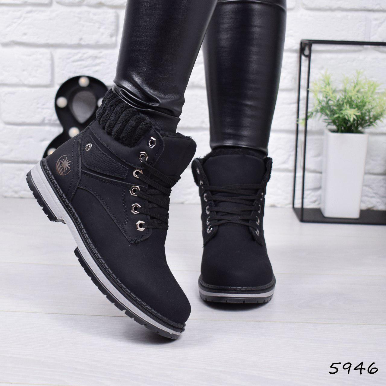 """Ботинки, ботильоны черные ЗИМА """"Combers"""" эко замша, повседневная, зимняя, теплая, женская обувь"""