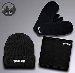 Мужской комплект шапка + бафф + перчатки Thrasher черного цвета (люкс копия)