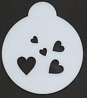 "Кофе - трафарет ""Несколько сердец"", фото 1"