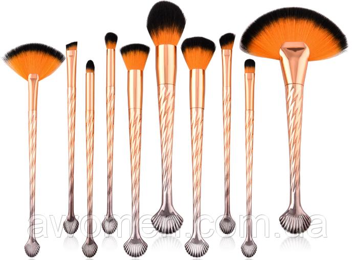 Набор кистей GUJHUI золотые (оранжевый ворс) 10 штук