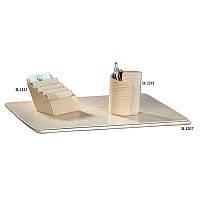 Красивый белый набор настольный для начальницы - 3 элементы - Визитница с рисунком кожи№: 06, 07, 16