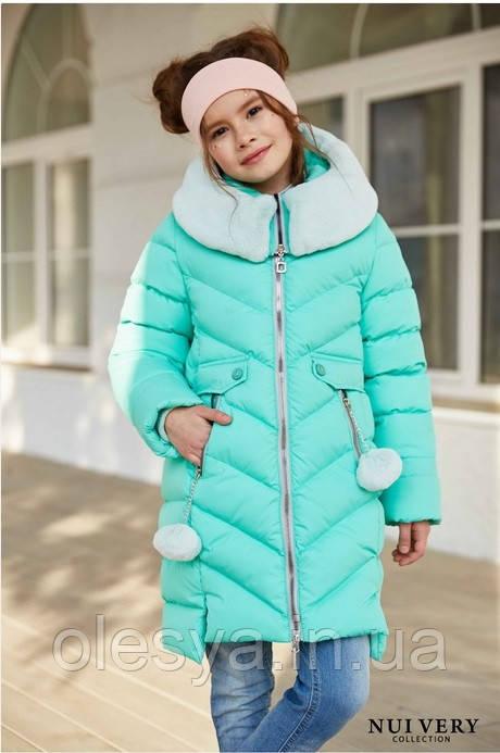 Зимнее пальто на девочку Ясмин с мутоном Тм Nui Very  Размеры 116- 158 Мята