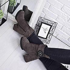 """Ботинки, ботильоны хаки ЗИМА """"Mimisy"""" эко замша, повседневная, зимняя, теплая, женская обувь, фото 2"""