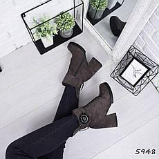 """Ботинки, ботильоны хаки ЗИМА """"Mimisy"""" эко замша, повседневная, зимняя, теплая, женская обувь, фото 3"""