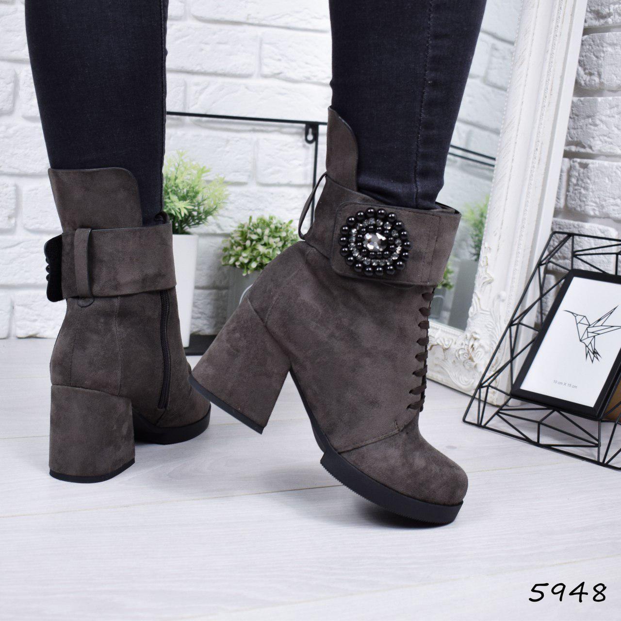 """Ботинки, ботильоны хаки ЗИМА """"Mimisy"""" эко замша, повседневная, зимняя, теплая, женская обувь"""